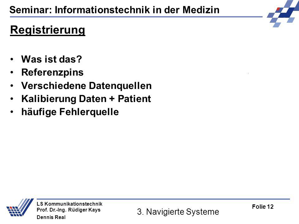 Registrierung Was ist das Referenzpins Verschiedene Datenquellen