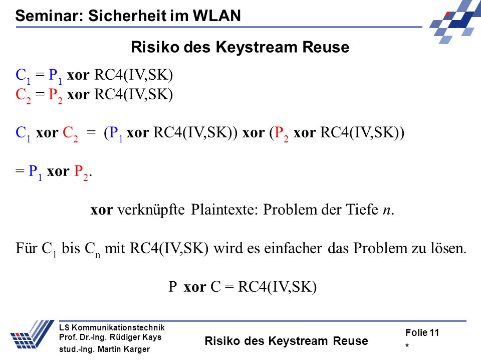 Risiko des Keystream Reuse