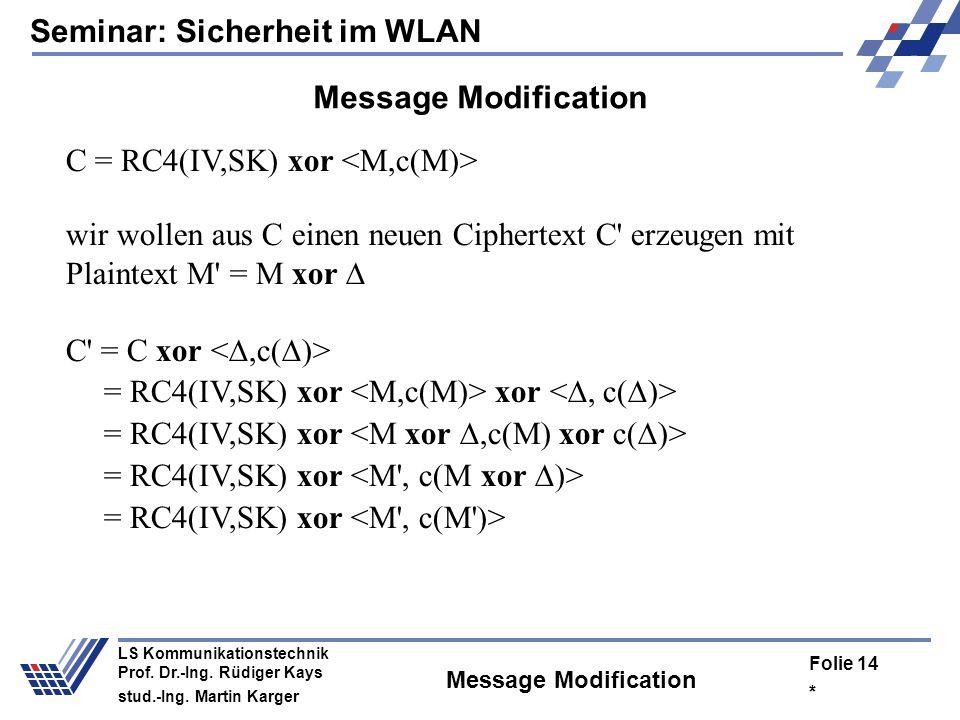 C = RC4(IV,SK) xor <M,c(M)>