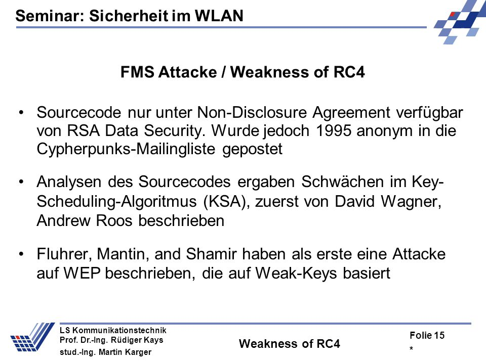 FMS Attacke / Weakness of RC4