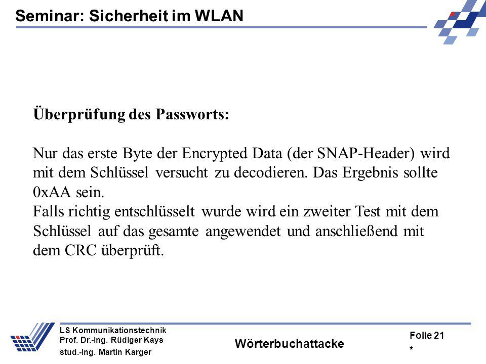 Überprüfung des Passworts: