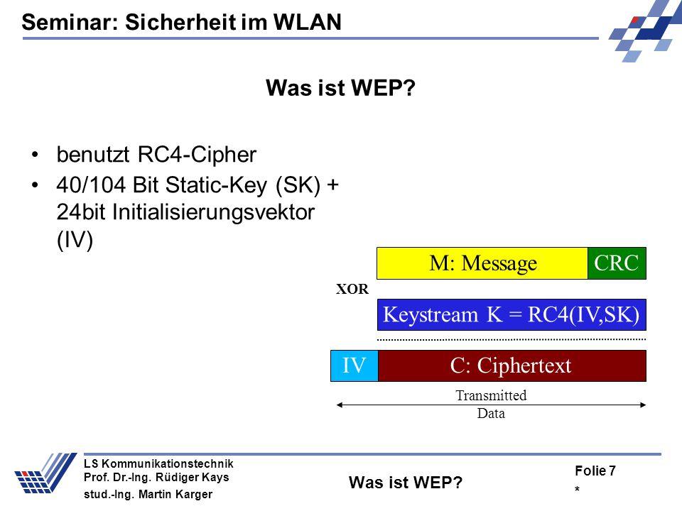 40/104 Bit Static-Key (SK) + 24bit Initialisierungsvektor (IV)