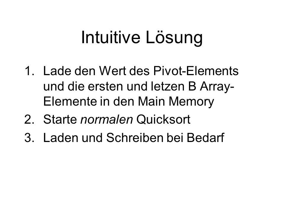 Intuitive Lösung Lade den Wert des Pivot-Elements und die ersten und letzen B Array-Elemente in den Main Memory.