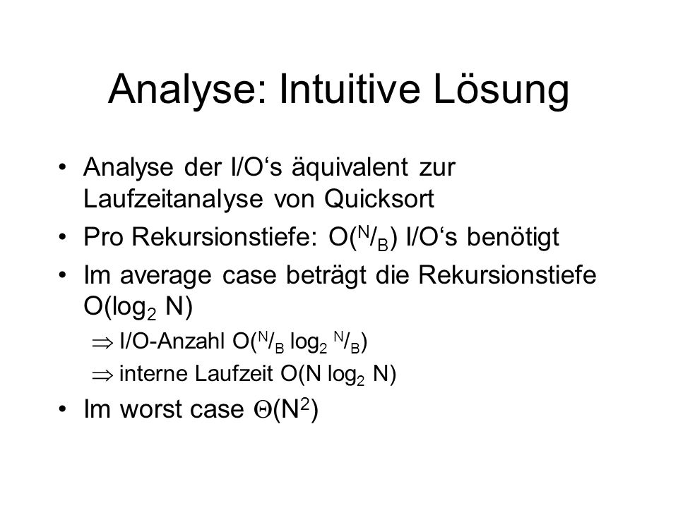 Analyse: Intuitive Lösung
