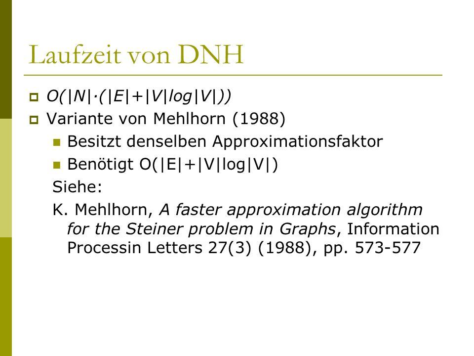 Laufzeit von DNH O(|N|·(|E|+|V|log|V|)) Variante von Mehlhorn (1988)