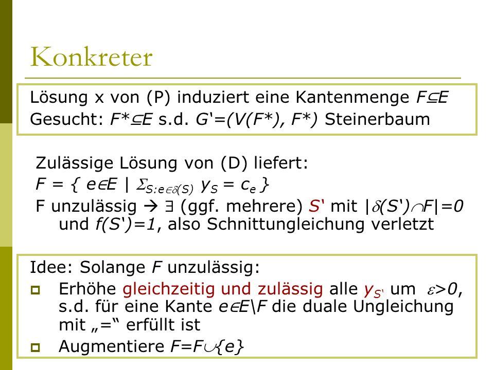Konkreter Lösung x von (P) induziert eine Kantenmenge F⊆E