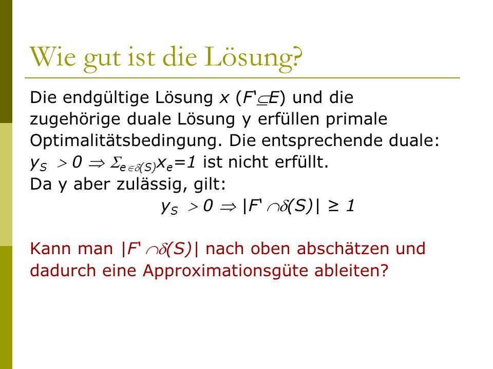 Wie gut ist die Lösung Die endgültige Lösung x (F'E) und die