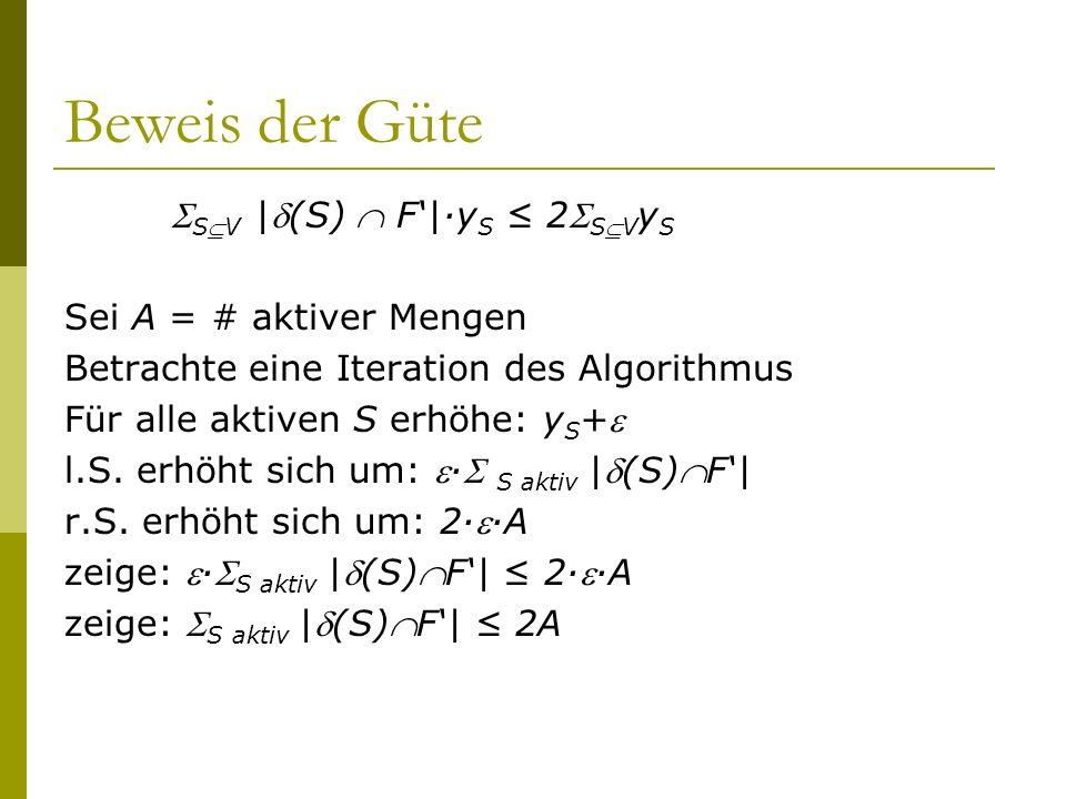 Beweis der Güte SV |(S)  F'|·yS ≤ 2SVyS Sei A = # aktiver Mengen