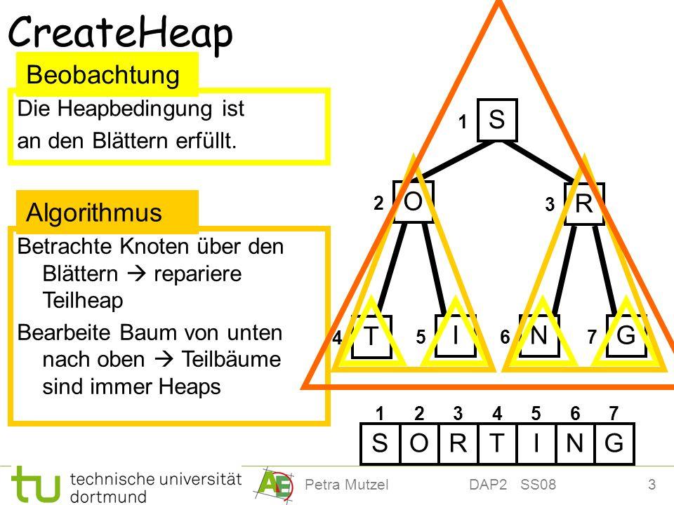 CreateHeap Beobachtung S O R Algorithmus T I N G S O R T I N G