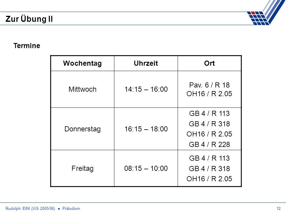Zur Übung II Termine Wochentag Uhrzeit Ort Mittwoch 14:15 – 16:00