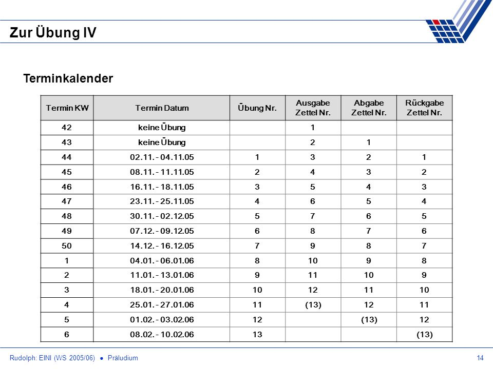 Zur Übung IV Terminkalender Termin KW Termin Datum Übung Nr.