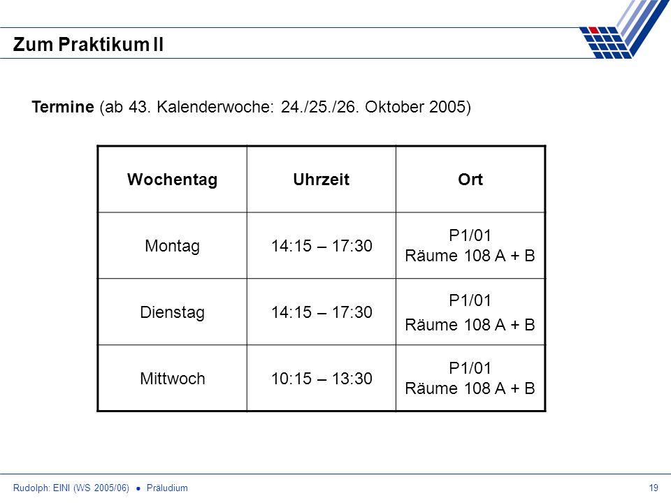 Zum Praktikum II Termine (ab 43. Kalenderwoche: 24./25./26. Oktober 2005) Wochentag. Uhrzeit. Ort.