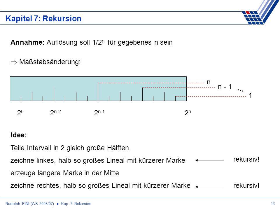 Kapitel 7: Rekursion Annahme: Auflösung soll 1/2n für gegebenes n sein