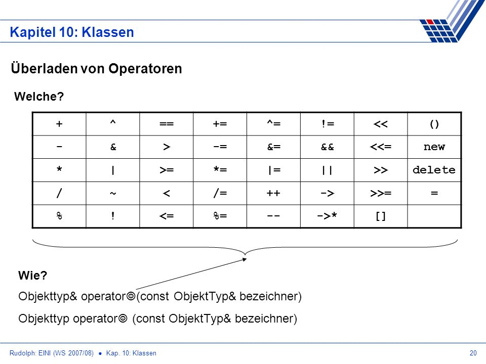 Überladen von Operatoren