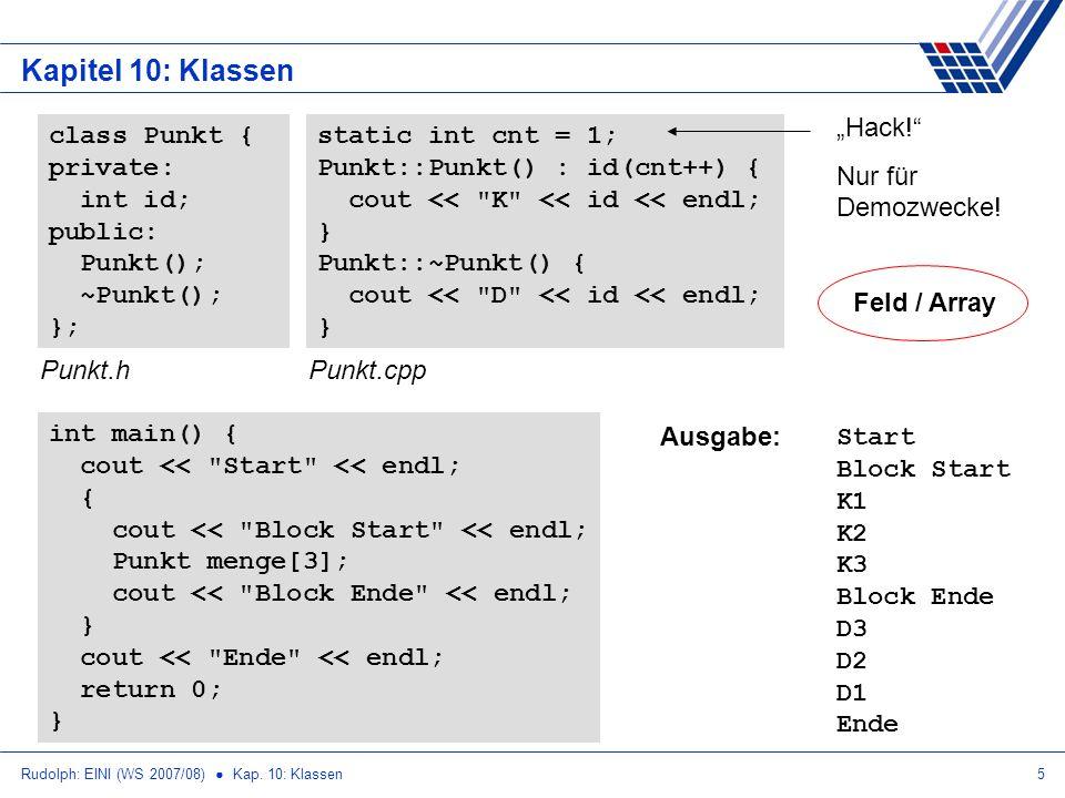 """Kapitel 10: Klassen """"Hack! Nur für Demozwecke! class Punkt { private:"""