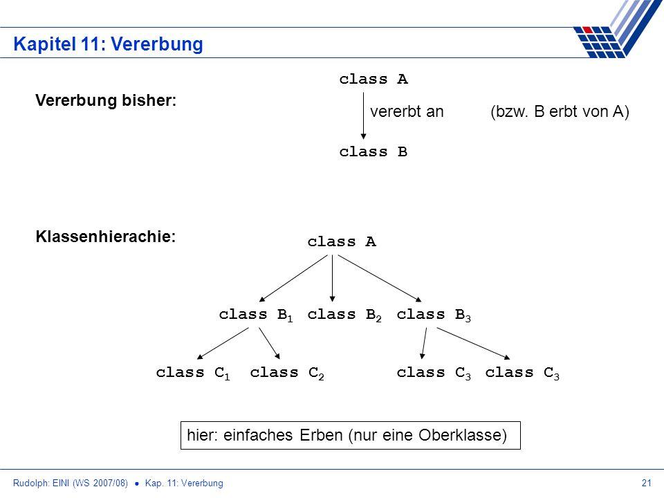 Kapitel 11: Vererbung class A class B vererbt an Vererbung bisher:
