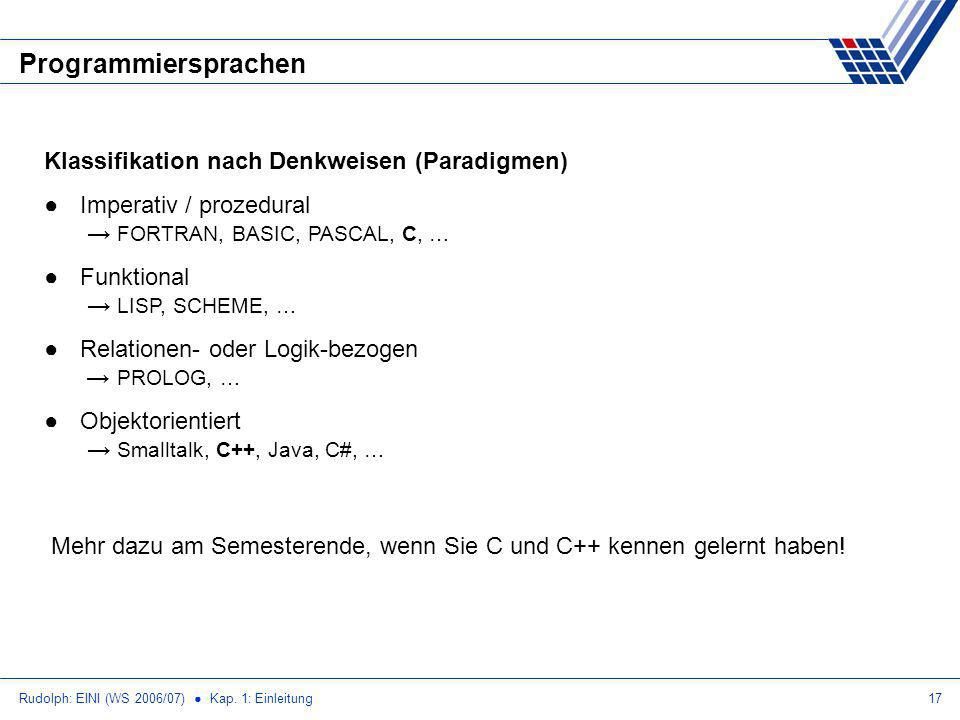 Programmiersprachen Klassifikation nach Denkweisen (Paradigmen)
