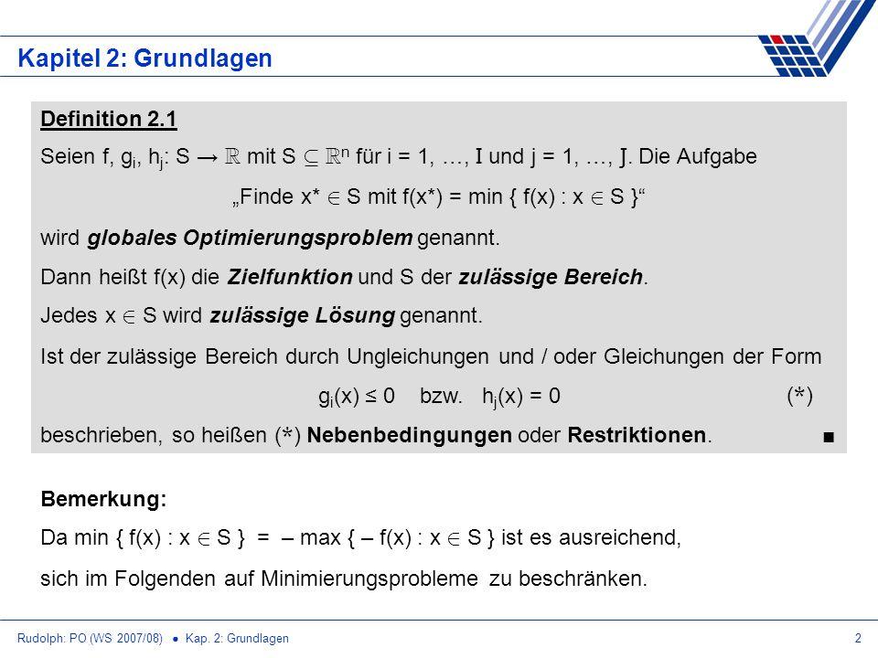 """""""Finde x* 2 S mit f(x*) = min { f(x) : x 2 S }"""