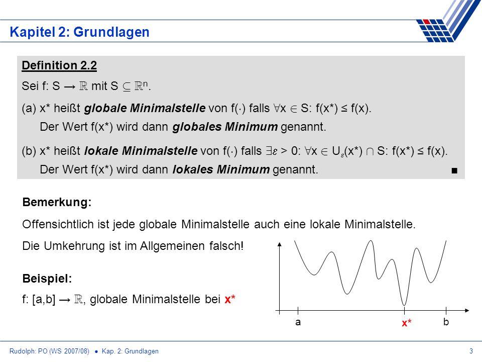 Kapitel 2: Grundlagen Definition 2.2 Sei f: S → R mit S µ Rn.