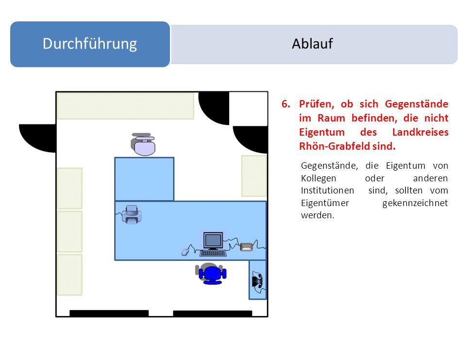 Ablauf Durchführung. Prüfen, ob sich Gegenstände im Raum befinden, die nicht Eigentum des Landkreises Rhön-Grabfeld sind.