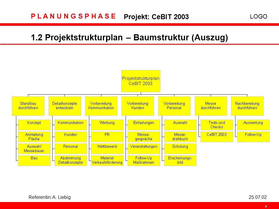 1.2 Projektstrukturplan – Baumstruktur (Auszug)