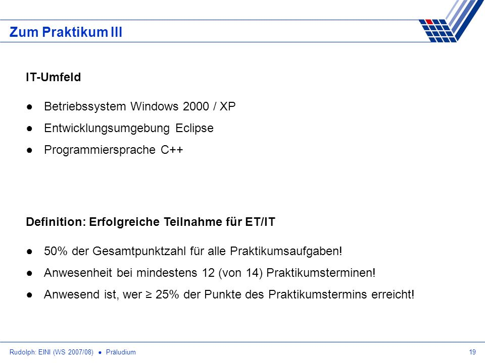 Zum Praktikum III IT-Umfeld Betriebssystem Windows 2000 / XP