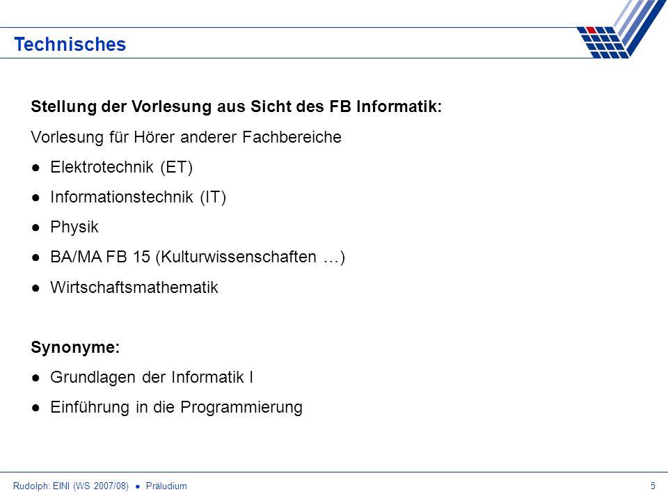 Technisches Stellung der Vorlesung aus Sicht des FB Informatik: