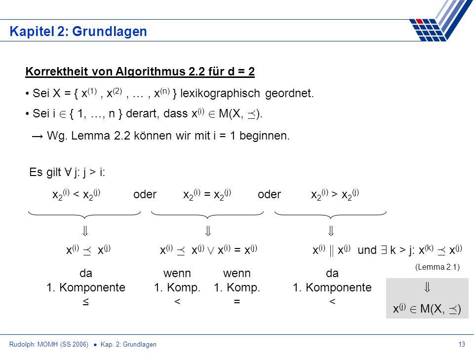 Kapitel 2: Grundlagen Korrektheit von Algorithmus 2.2 für d = 2