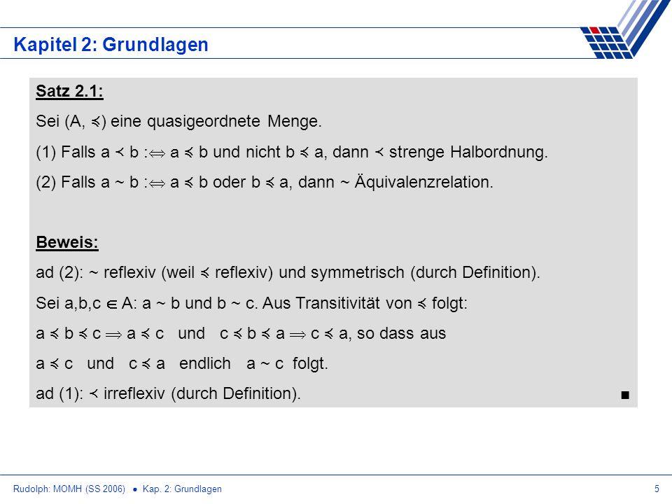 Kapitel 2: Grundlagen Satz 2.1: Sei (A, ≼) eine quasigeordnete Menge.