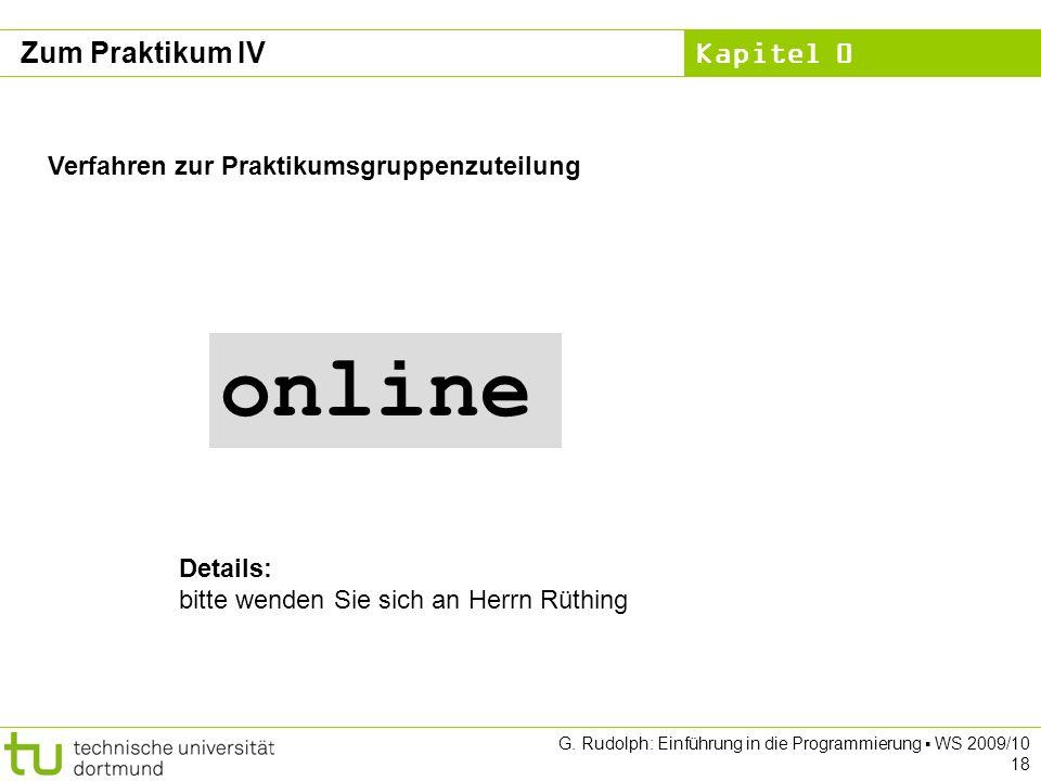 online Zum Praktikum IV Verfahren zur Praktikumsgruppenzuteilung