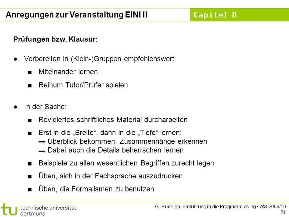 Anregungen zur Veranstaltung EINI II