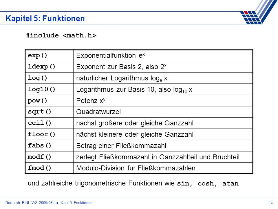 Kapitel 5: Funktionen #include <math.h> exp()