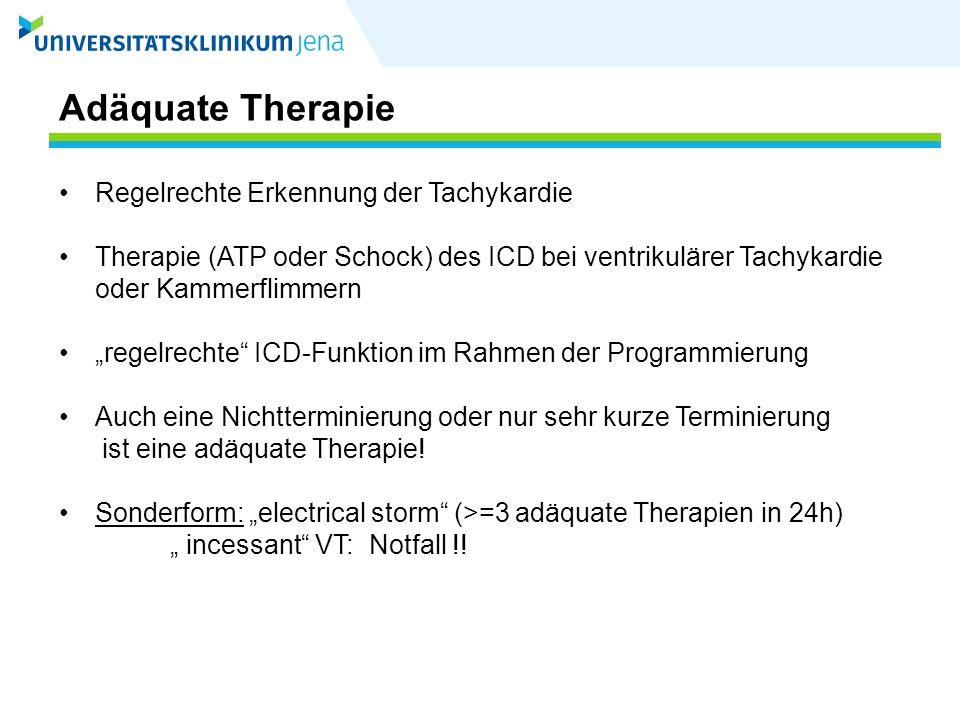 Adäquate Therapie Regelrechte Erkennung der Tachykardie