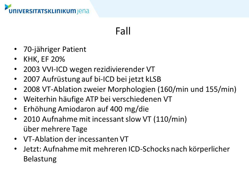 Fall 70-jähriger Patient KHK, EF 20%