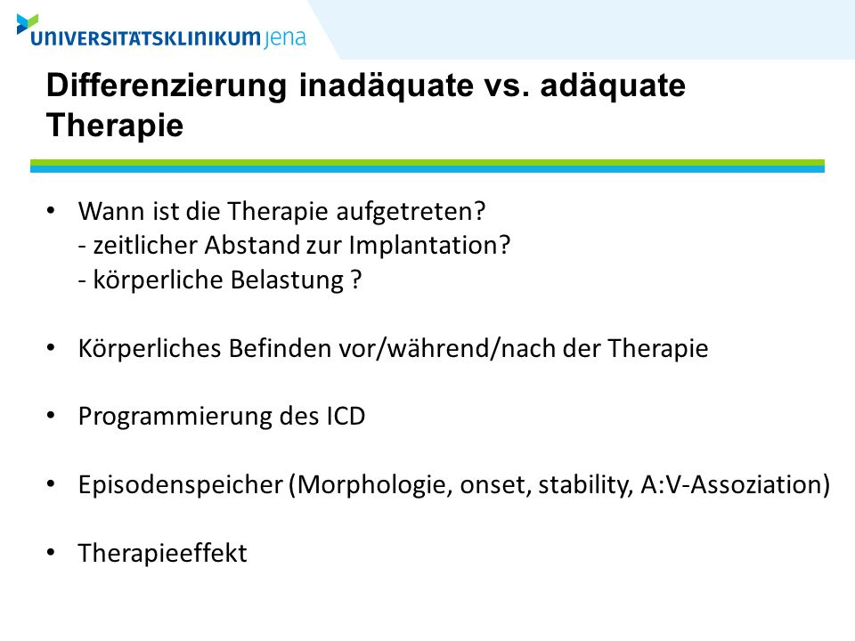 Differenzierung inadäquate vs. adäquate Therapie