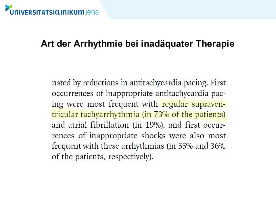 Art der Arrhythmie bei inadäquater Therapie