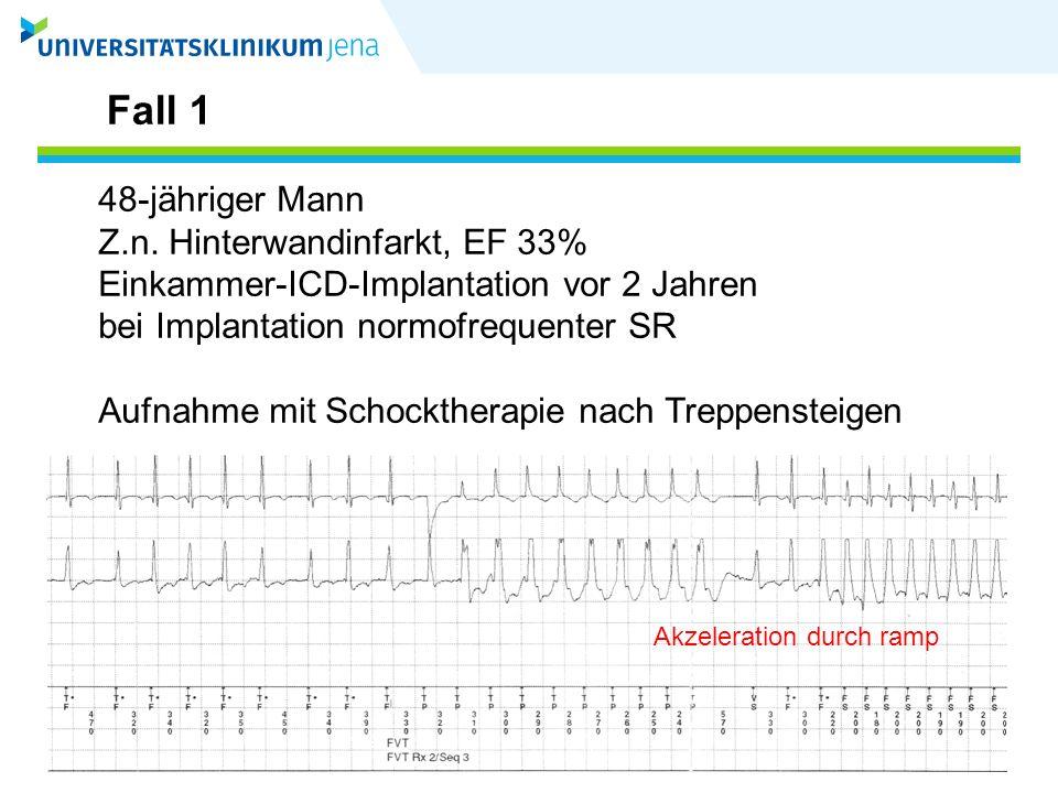 Fall 1 48-jähriger Mann Z.n. Hinterwandinfarkt, EF 33%