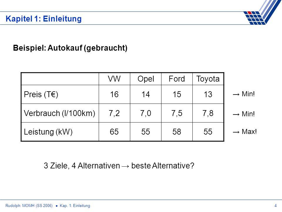 Beispiel: Autokauf (gebraucht) VW Opel Ford Toyota Preis (T€) 16 14 15