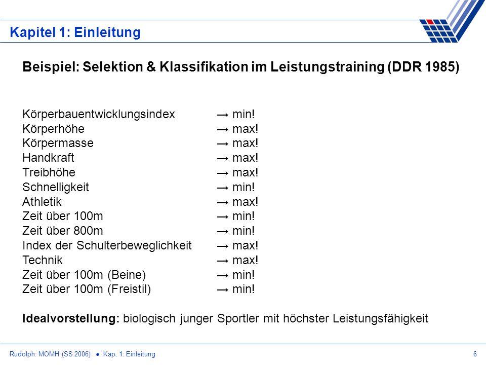 Beispiel: Selektion & Klassifikation im Leistungstraining (DDR 1985)