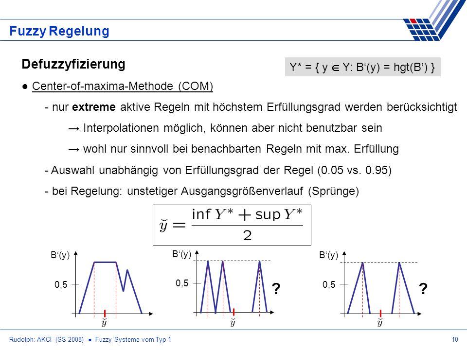 Fuzzy Regelung Defuzzyfizierung Y* = { y  Y: B'(y) = hgt(B') }