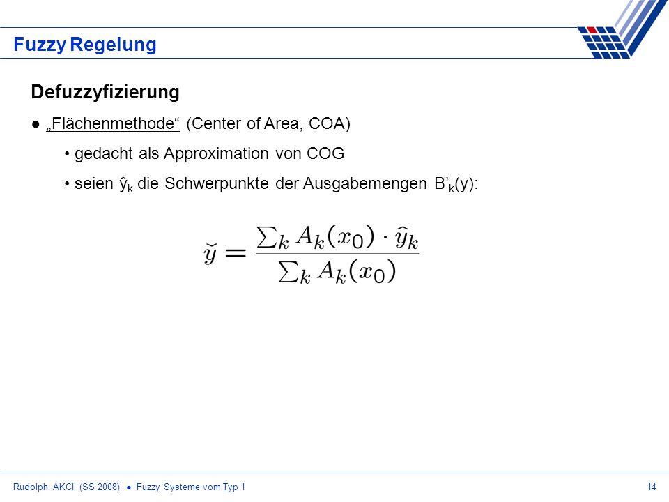 """Fuzzy Regelung Defuzzyfizierung """"Flächenmethode (Center of Area, COA)"""