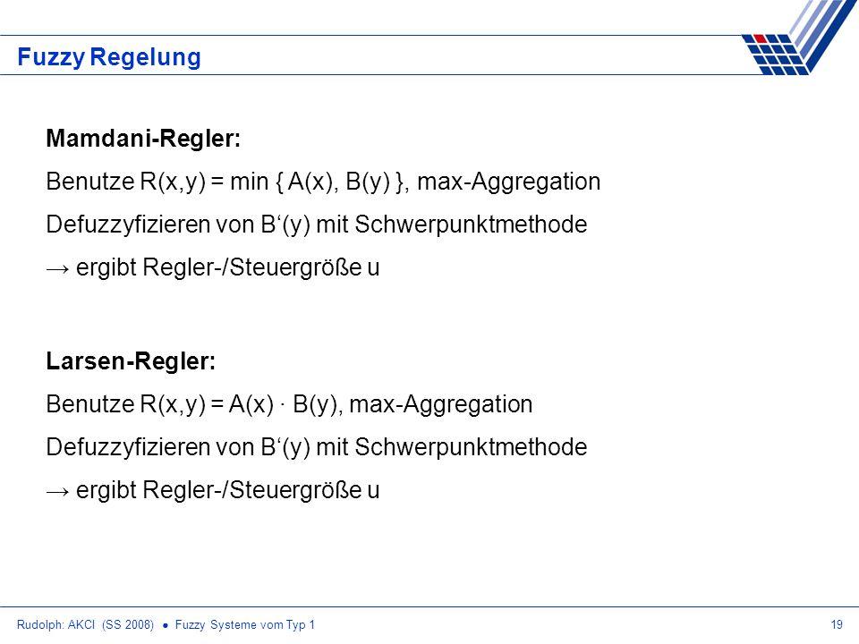 Benutze R(x,y) = min { A(x), B(y) }, max-Aggregation