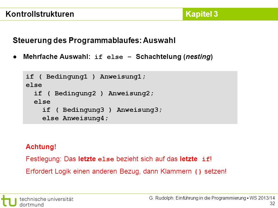 Steuerung des Programmablaufes: Auswahl