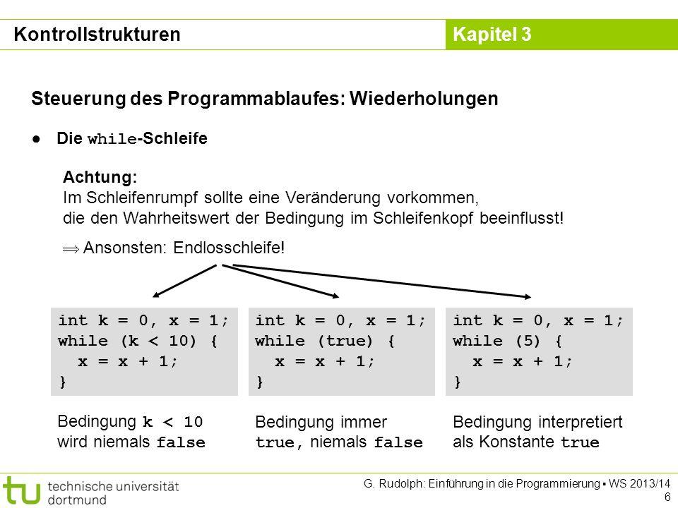 Steuerung des Programmablaufes: Wiederholungen