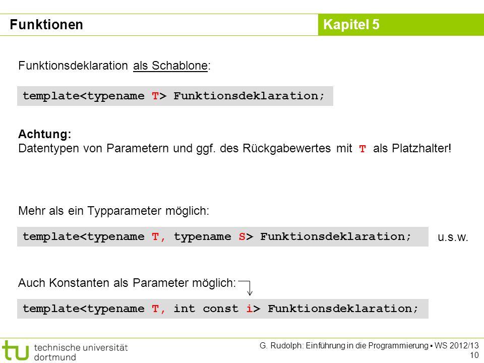 Funktionen Funktionsdeklaration als Schablone: