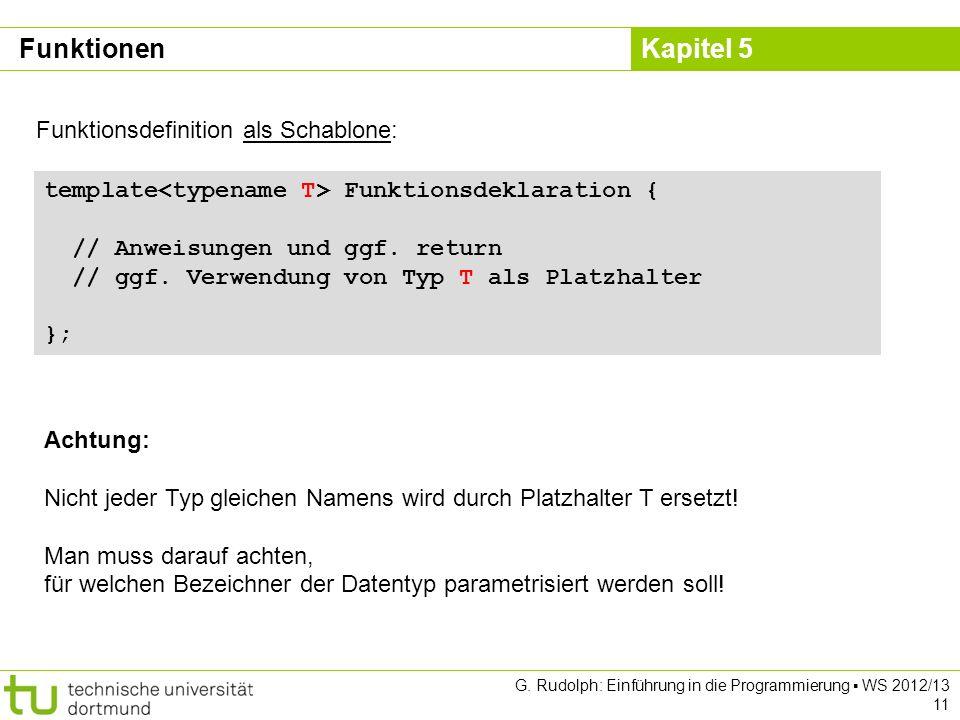 Funktionen Funktionsdefinition als Schablone: