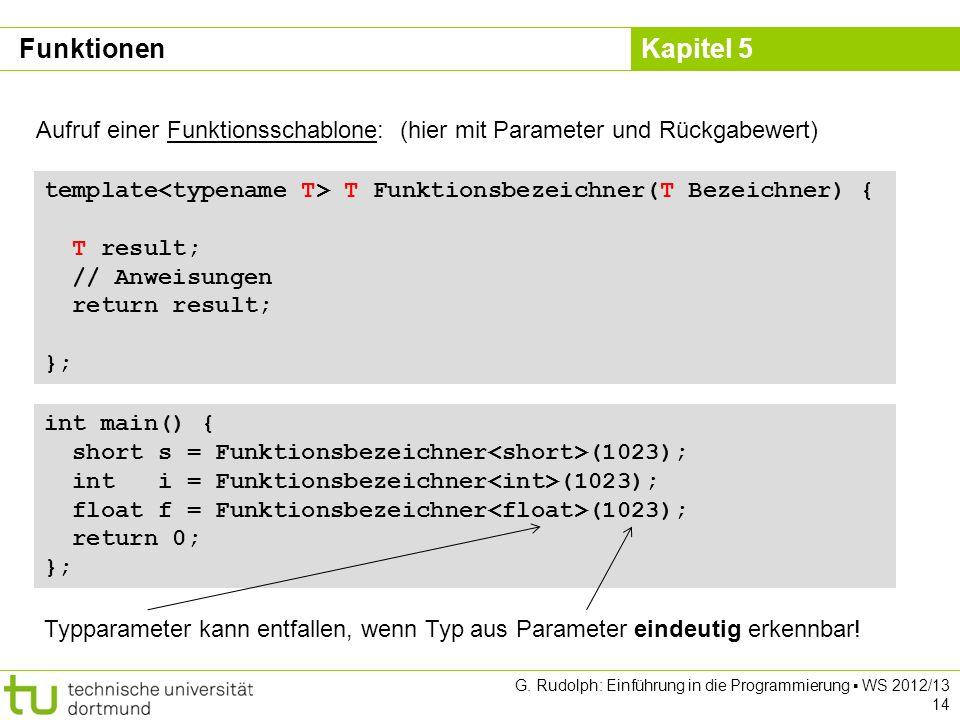 Funktionen Aufruf einer Funktionsschablone: (hier mit Parameter und Rückgabewert) template<typename T> T Funktionsbezeichner(T Bezeichner) {