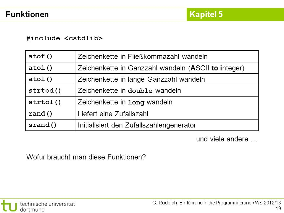 Funktionen #include <cstdlib> atof()