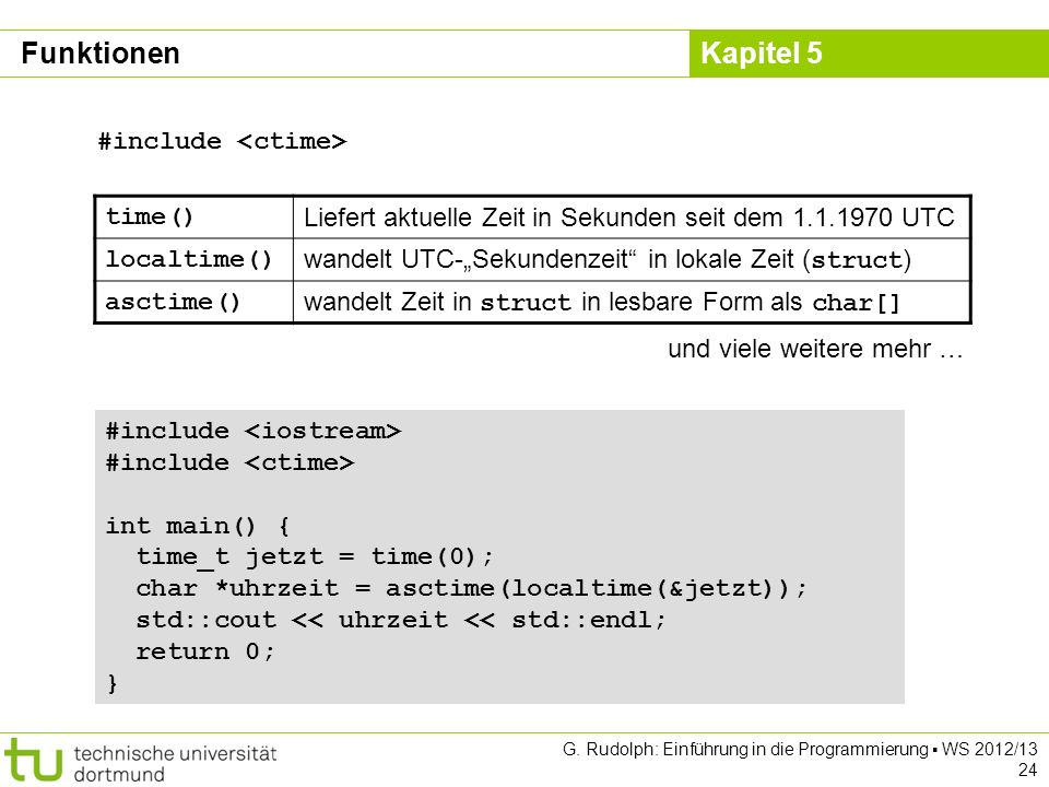 Funktionen #include <ctime> time()