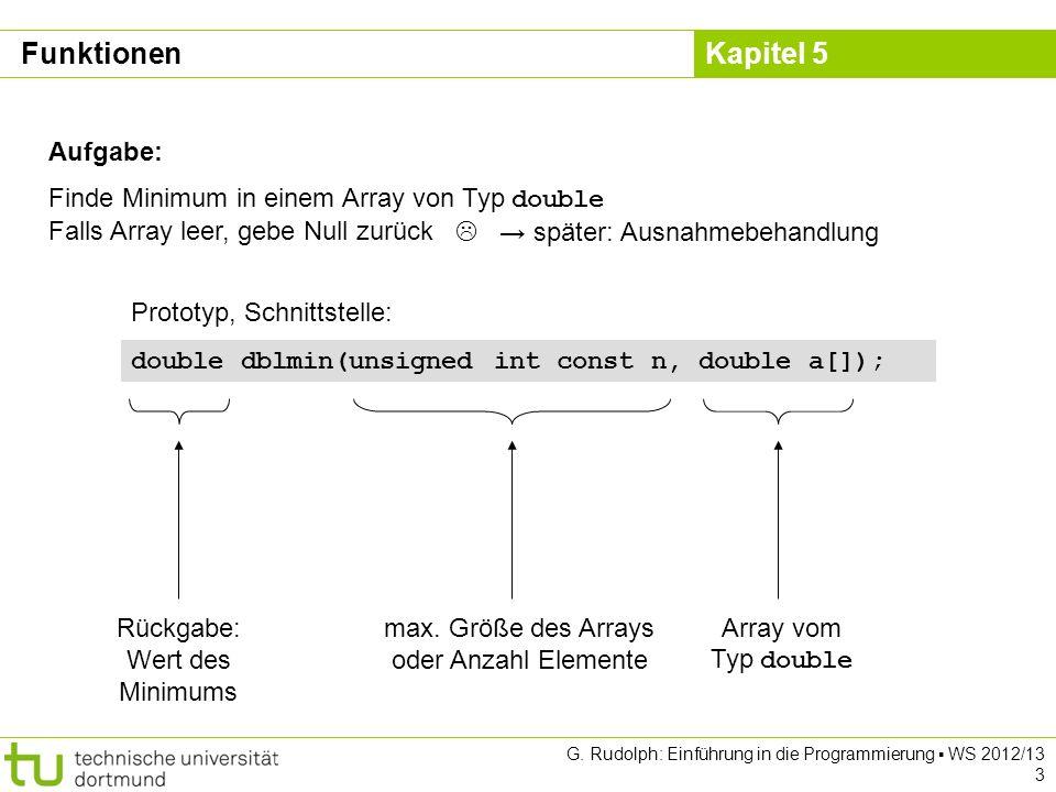 Funktionen Aufgabe: Finde Minimum in einem Array von Typ double Falls Array leer, gebe Null zurück.